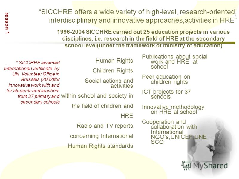 Publications about social work and HRE at school Peer education on children rights ICT projects for 37 schools Innovative methodology on HRE at school Cooperation and collaboration with International NGOs,UNICEF,UNE SCO SICCHRE awarded International