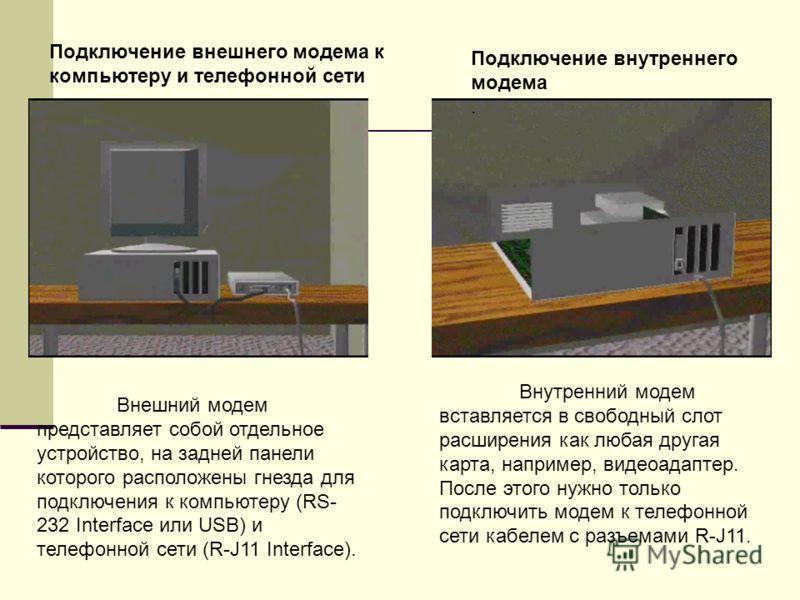 Подключение внешнего модема к компьютеру и телефонной сети Внутренний модем вставляется в свободный слот расширения как любая другая карта, например, видеоадаптер. После этого нужно только подключить модем к телефонной сети кабелем с разъемами R-J11.