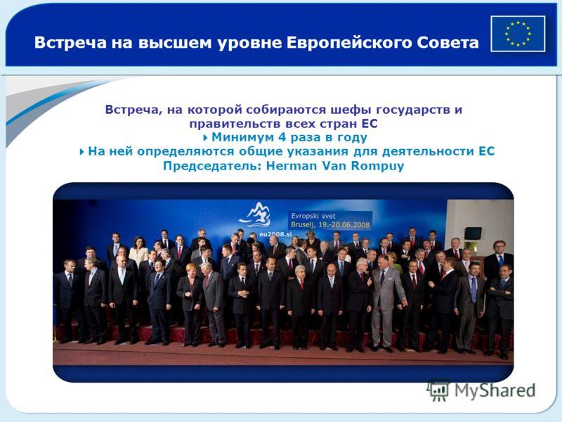Встреча на высшем уровне Европейского Совета Встреча, на которой собираются шефы государств и правительств всех стран ЕС Минимум 4 раза в году На ней определяются общие указания для деятельности ЕС Председатель: Herman Van Rompuy