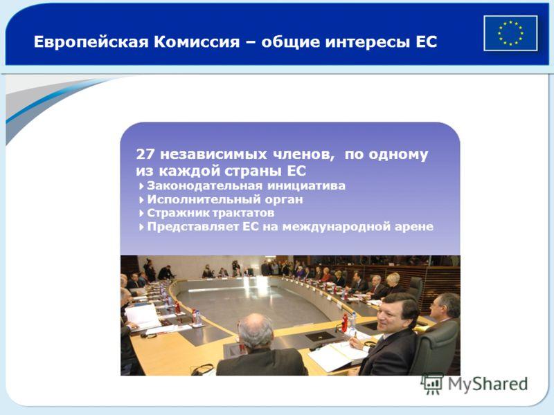 Европейская Комиссия – общие интересы ЕС 27 независимых членов, по одному из каждой страны ЕС Законодательная инициатива Исполнительный орган Стражник трактатов Представляет ЕС на международной арене