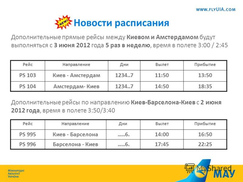 Новости расписания Дополнительные прямые рейсы между Киевом и Амстердамом будут выполняться с 3 июня 2012 года 5 раз в неделю, время в полете 3:00 / 2:45 Дополнительные рейсы по направлению Киев-Барселона-Киев с 2 июня 2012 года, время в полете 3:50/