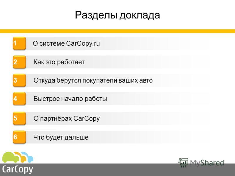 Как это работает Откуда берутся покупатели ваших авто Быстрое начало работы О системе CarCopy.ru 4 4 2 2 3 3 Разделы доклада 1 1 О партнёрах CarCopy 5 5 Что будет дальше 6 6