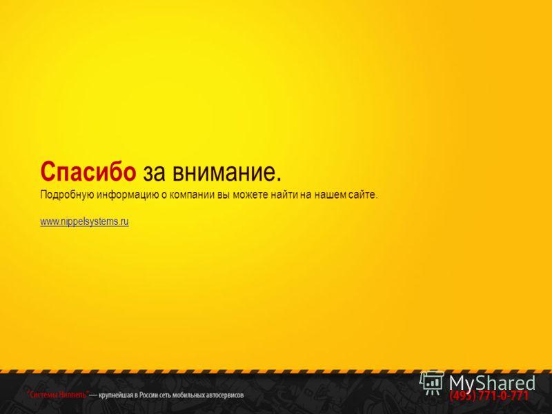 Спасибо за внимание. Подробную информацию о компании вы можете найти на нашем сайте. www.nippelsystems.ru