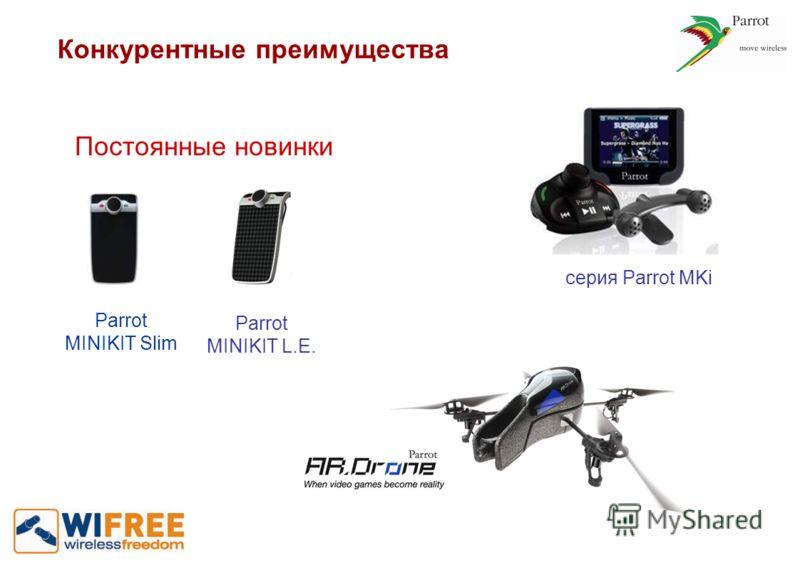 Конкурентные преимущества Постоянные новинки Parrot MINIKIT Slim Parrot MINIKIT L.E. серия Parrot MKi