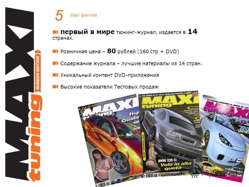 5 Maxi фактов первый в мире тюнинг-журнал, издается в 14 странах. Розничная цена – 80 рублей (160 стр + DVD) Содержание журнала – лучшие материалы из 14 стран. Уникальный контент DVD-приложения Высокие показатели Тестовых продаж