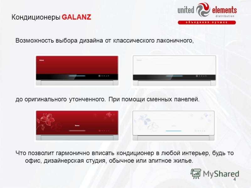 Кондиционеры GALANZ Возможность выбора дизайна от классического лаконичного, до оригинального утонченного. При помощи сменных панелей. Что позволит гармонично вписать кондиционер в любой интерьер, будь то офис, дизайнерская студия, обычное или элитно