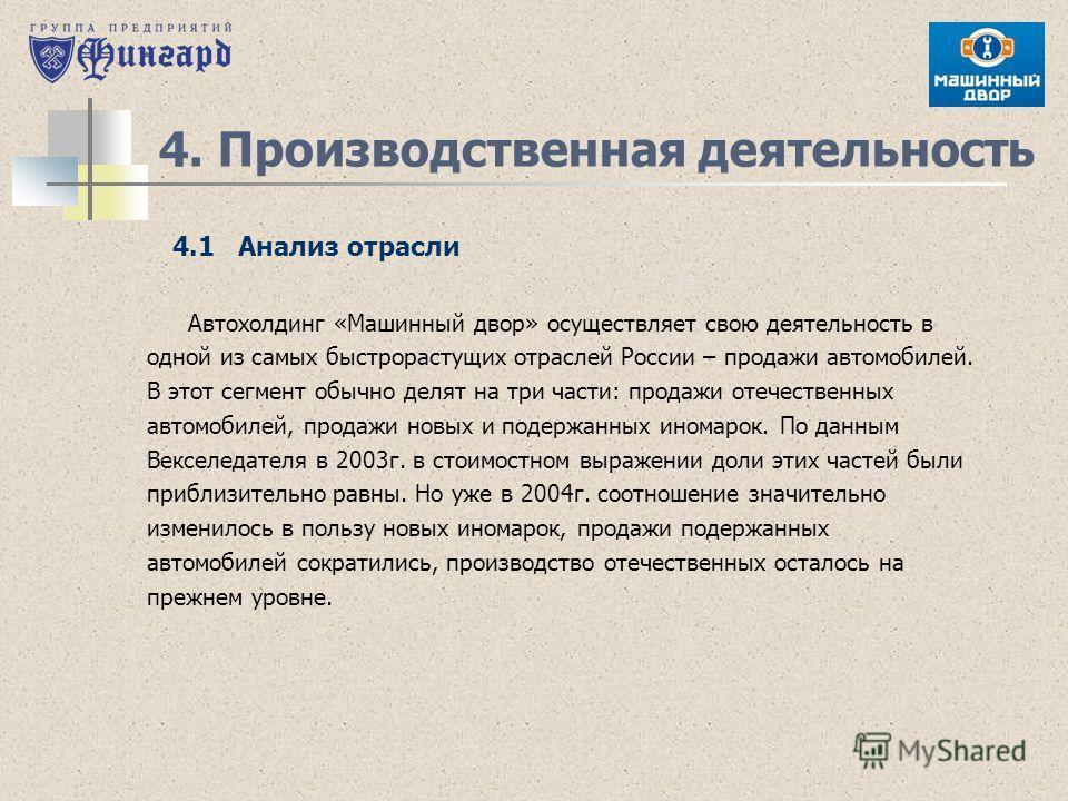 4. Производственная деятельность Автохолдинг «Машинный двор» осуществляет свою деятельность в одной из самых быстрорастущих отраслей России – продажи автомобилей. В этот сегмент обычно делят на три части: продажи отечественных автомобилей, продажи но