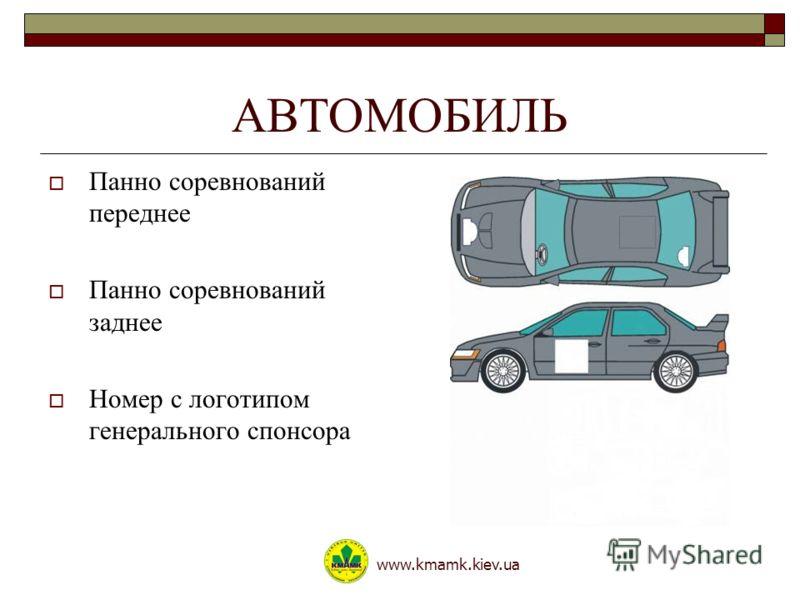АВТОМОБИЛЬ Панно соревнований переднее Панно соревнований заднее Номер с логотипом генерального спонсора www.kmamk.kiev.ua