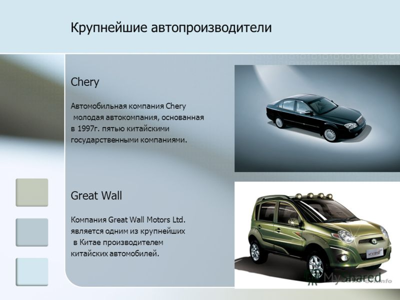Крупнейшие автопроизводители Chery Автомобильная компания Chery молодая автокомпания, основанная в 1997г. пятью китайскими государственными компаниями. Great Wall Компания Great Wall Motors Ltd. является одним из крупнейших в Китае производителем кит