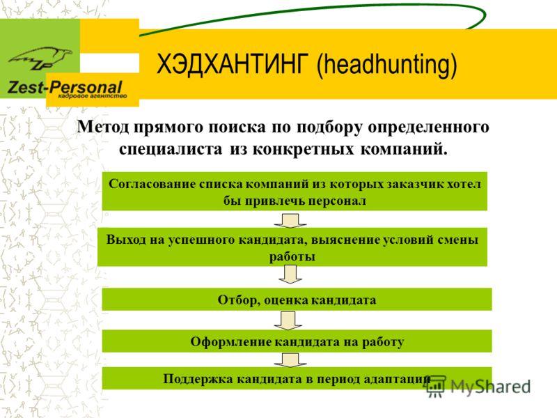 ХЭДХАНТИНГ (headhunting) Метод прямого поиска по подбору определенного специалиста из конкретных компаний. Согласование списка компаний из которых заказчик хотел бы привлечь персонал Выход на успешного кандидата, выяснение условий смены работы Отбор,