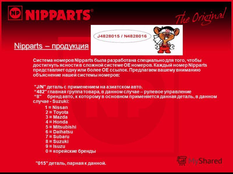 Nipparts – продукция Система номеров Nipparts была разработана специально для того, чтобы достигнуть ясности в сложной системе ОЕ номеров. Каждый номер Nipparts представляет одну или более ОЕ ссылок. Предлагаем вашему вниманию объяснение нашей систем