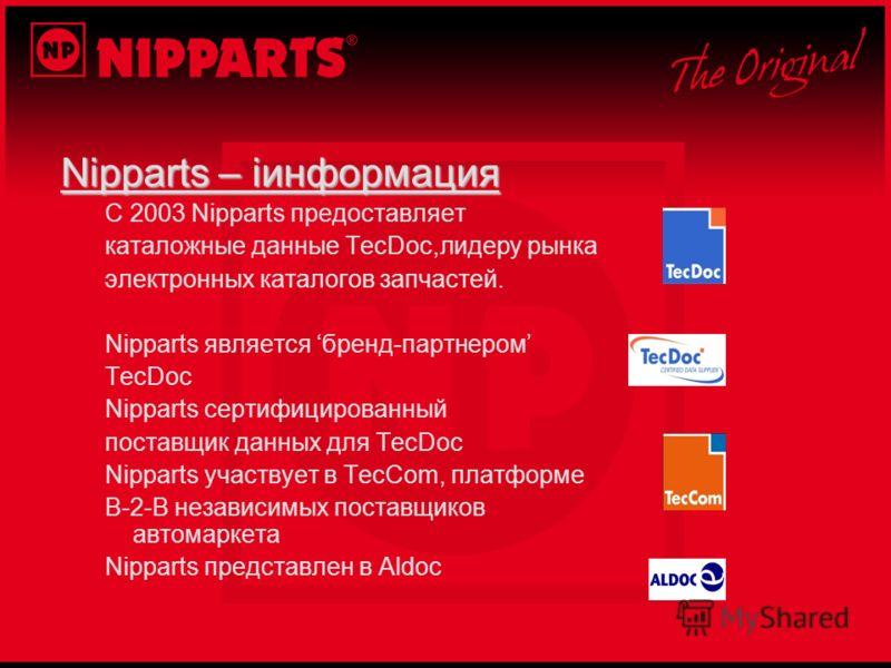 Nipparts – iинформация С 2003 Nipparts предоставляет каталожные данные TecDoc,лидеру рынка электронных каталогов запчастей. Nipparts является бренд-партнером TecDoc Nipparts сертифицированный поставщик данных для TecDoc Nipparts участвует в TecCom, п
