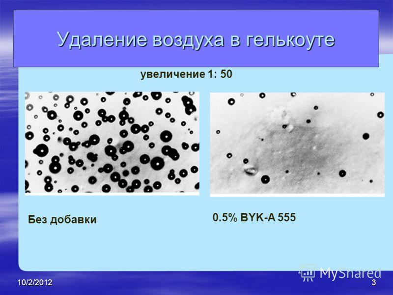 7/28/20123 Без добавки 0.5% BYK-A 555 увеличение 1: 50 Удаление воздуха в гелькоуте