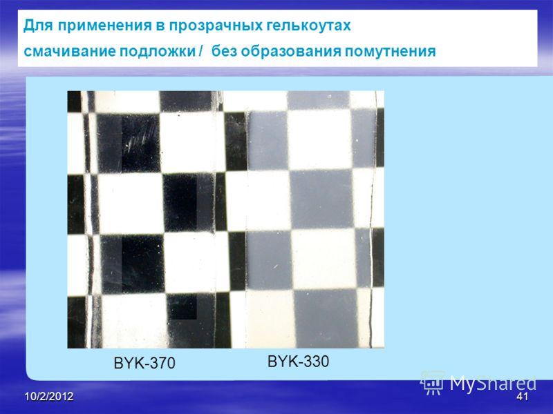 7/28/201241 Для применения в прозрачных гелькоутах смачивание подложки / без образования помутнения BYK-370 BYK-330