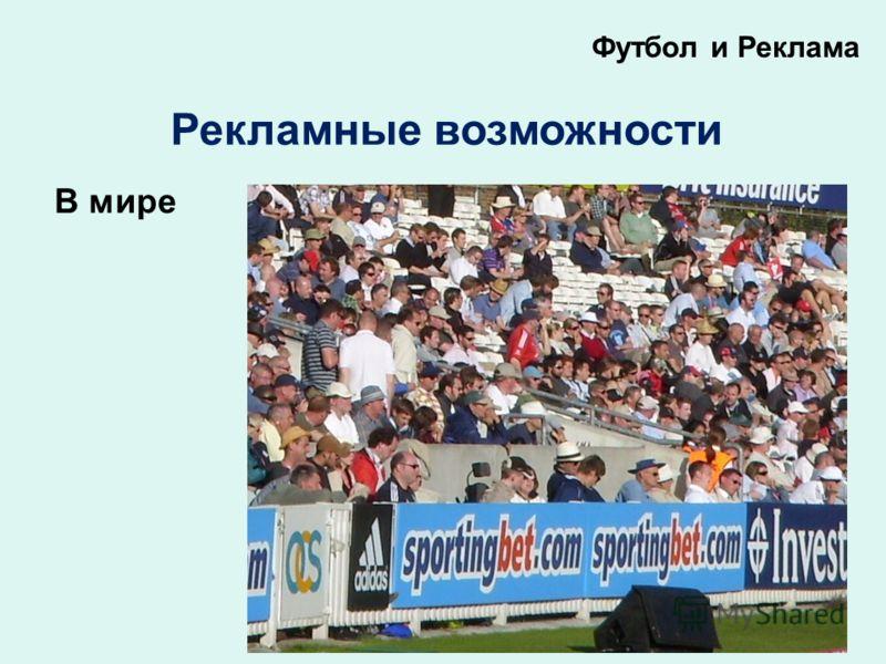 Футбол и Реклама Рекламные возможности В мире