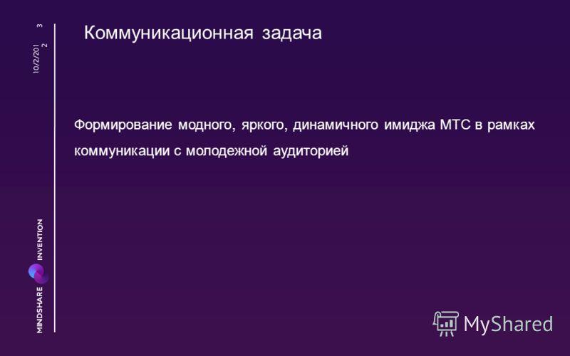 Коммуникационная задача 8/23/2012 3 Формирование модного, яркого, динамичного имиджа МТС в рамках коммуникации с молодежной аудиторией