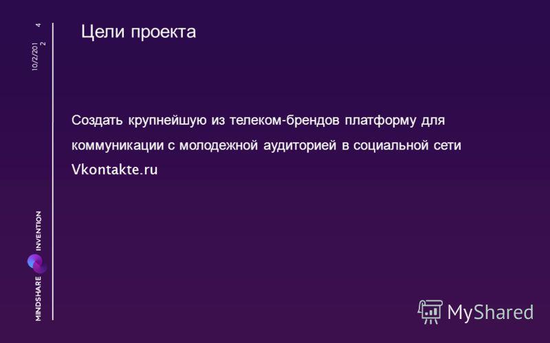 Цели проекта Создать крупнейшую из телеком - брендов платформу для коммуникации с молодежной аудиторией в социальной сети Vkontakte.ru 8/23/2012 4