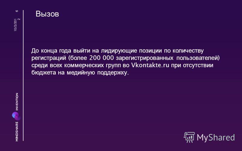 Вызов До конца года выйти на лидирующие позиции по количеству регистраций ( более 200 000 зарегистрированных пользователей ) среди всех коммерческих групп во Vkontakte.ru при отсутствии бюджета на медийную поддержку. 8/23/2012 6