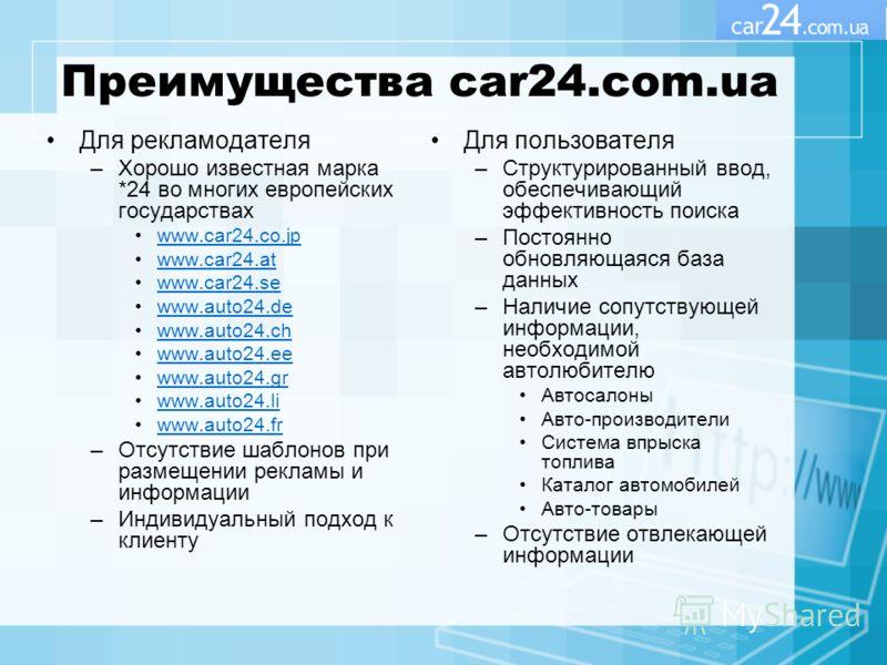 Преимущества car24.com.ua Для рекламодателя –Хорошо известная марка *24 во многих европейских государствах www.car24.co.jp www.car24.at www.car24.se www.auto24.de www.auto24.ch www.auto24.ee www.auto24.gr www.auto24.li www.auto24.fr –Отсутствие шабло