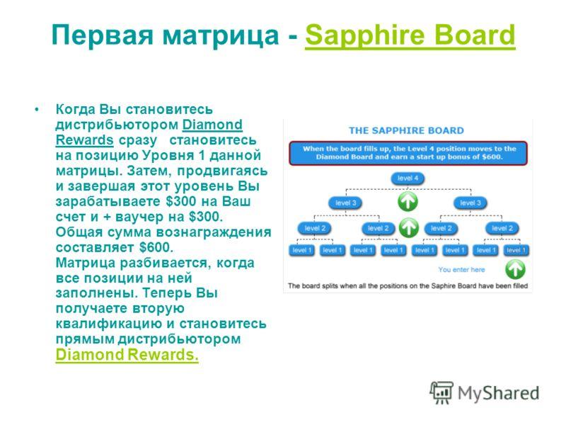 Первая матрица - Sapphire Board Когда Вы становитесь дистрибьютором Diamond Rewards сразу становитесь на позицию Уровня 1 данной матрицы. Затем, продвигаясь и завершая этот уровень Вы зарабатываете $300 на Ваш счет и + ваучер на $300. Общая сумма воз