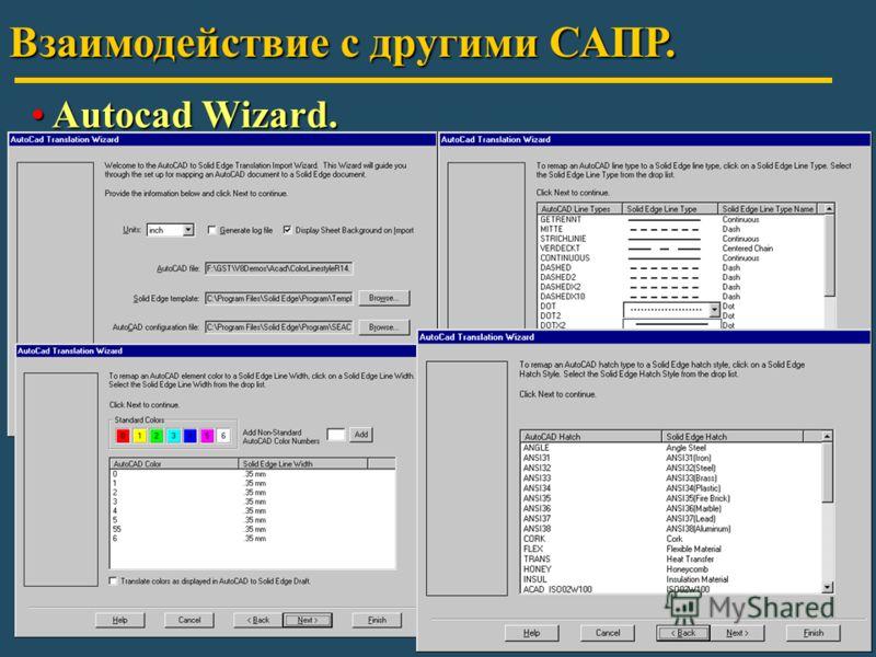 Взаимодействие с другими САПР. Autocad Wizard. Autocad Wizard.