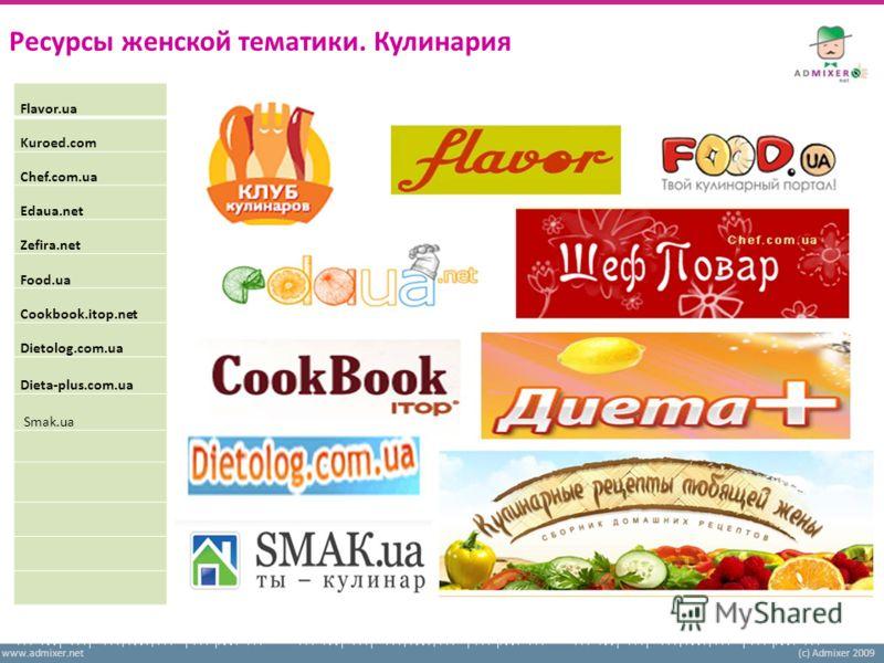 www.admixer.net(c) Admixer 2009 Ресурсы женской тематики. Кулинария Flavor.ua Kuroed.com Chef.com.ua Edaua.net Zefira.net Food.ua Cookbook.itop.net Dietolog.com.ua Dieta-plus.com.ua Smak.ua