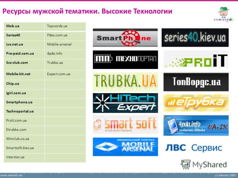 www.admixer.net(c) Admixer 2009 Ресурсы мужской тематики. Высокие Технологии Mob.ua Series40 Lvs.net.ua Pre-paid.com.ua Scs-club.com Mobile-kit.net Chip.ua Igirl.com.ua Smartphone.ua Technoportal.ua Proit.com.ua Etrubka.com Wmclub.co.ua Smartsoft.kie