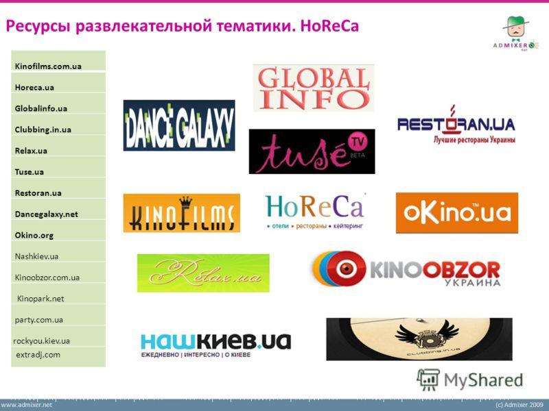www.admixer.net(c) Admixer 2009 Ресурсы развлекательной тематики. HoReCa Kinofilms.com.ua Horeca.ua Globalinfo.ua Clubbing.in.ua Relax.ua Tuse.ua Restoran.ua Dancegalaxy.net Okino.org Nashkiev.ua Kinoobzor.com.ua Kinopark.net party.com.ua rockyou.kie
