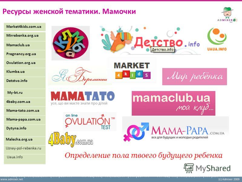 www.admixer.net(c) Admixer 2009 Ресурсы женской тематики. Мамочки Market4kids.com.ua Mirrebenka.org.ua Mamaclub.ua Pregnancy.org.ua Ovulation.org.ua Klumba.ua Detstvo.info My-bt.ru 4baby.com.ua Mama-tato.com.ua Mama-papa.com.ua Dytyna.info Malecha.or