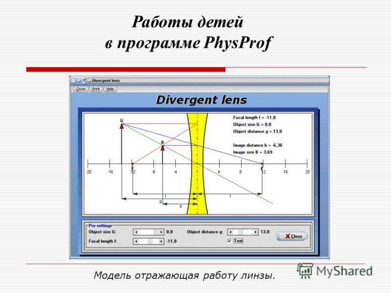 Модель отражающая работу линзы. Работы детей в программе PhysProf
