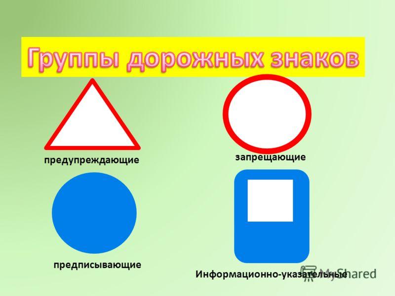 предупреждающие запрещающие предписывающие Информационно-указательные
