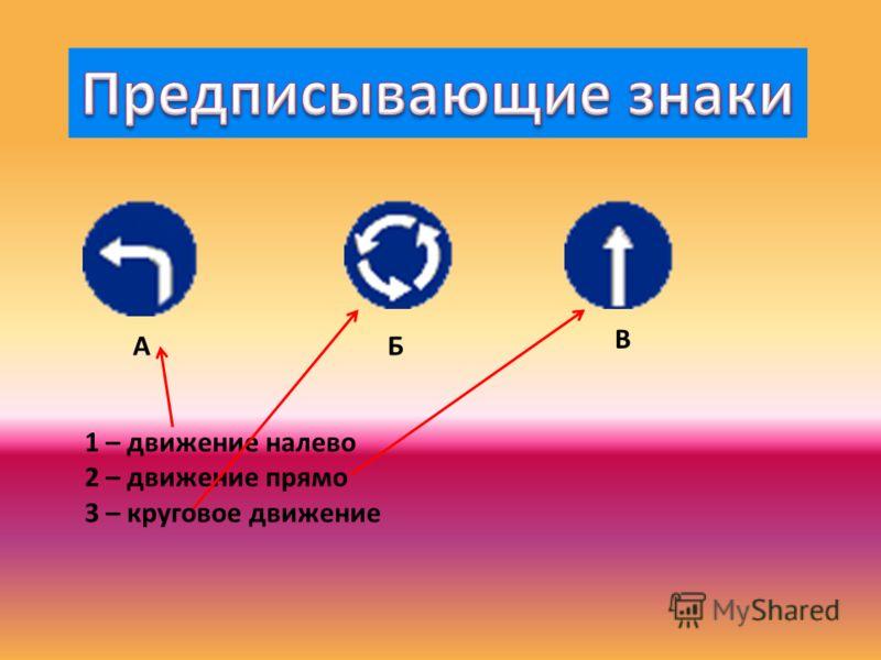 АБ В 1 – движение налево 2 – движение прямо 3 – круговое движение