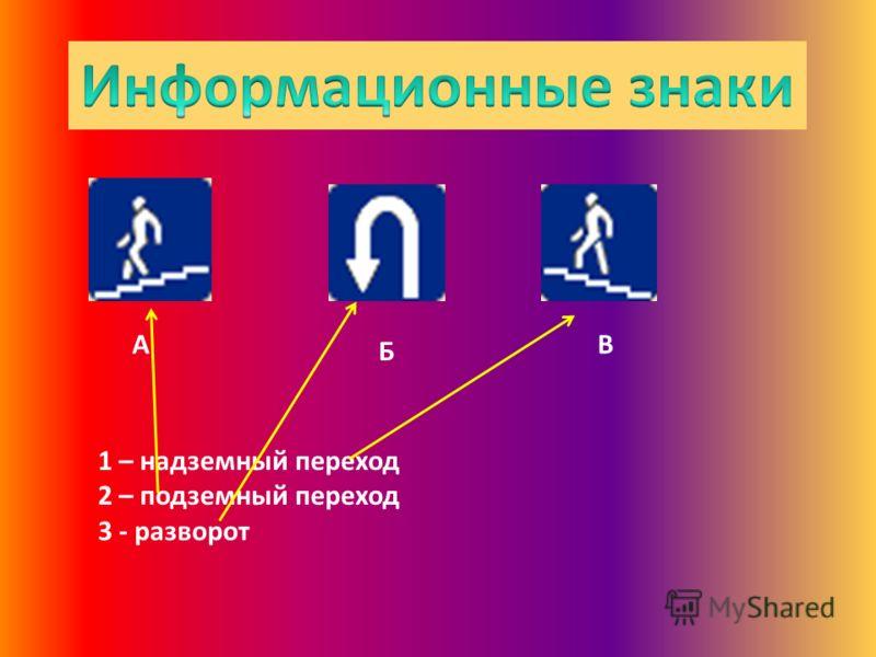 А Б В 1 – надземный переход 2 – подземный переход 3 - разворот