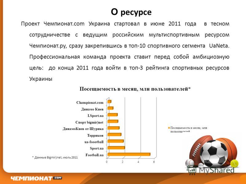 О ресурсе Проект Чемпионат.com Украина стартовал в июне 2011 года в тесном сотрудничестве с ведущим российским мультиспортивным ресурсом Чемпионат.ру, сразу закрепившись в топ-10 спортивного сегмента UaNeta. Профессиональная команда проекта ставит пе