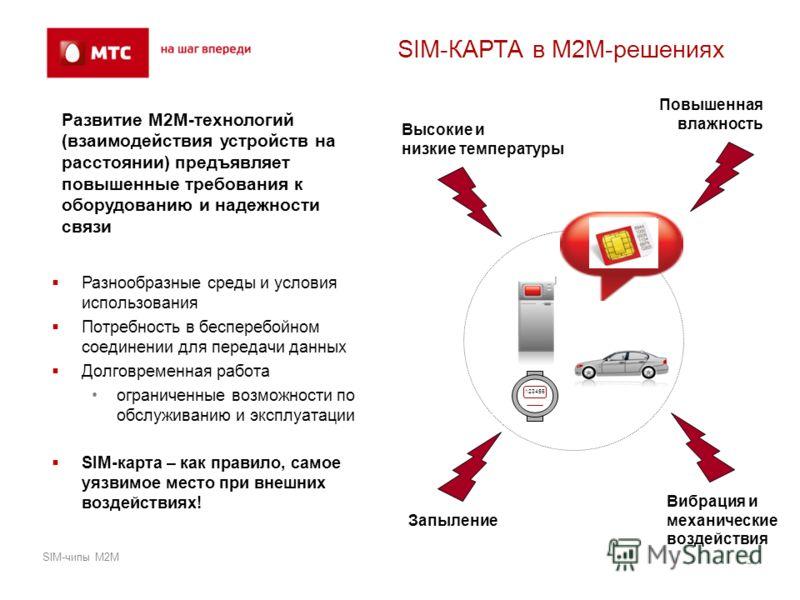 SIM-КАРТА в М2М-решениях Разнообразные среды и условия использования Потребность в бесперебойном соединении для передачи данных Долговременная работа ограниченные возможности по обслуживанию и эксплуатации SIM-карта – как правило, самое уязвимое мест
