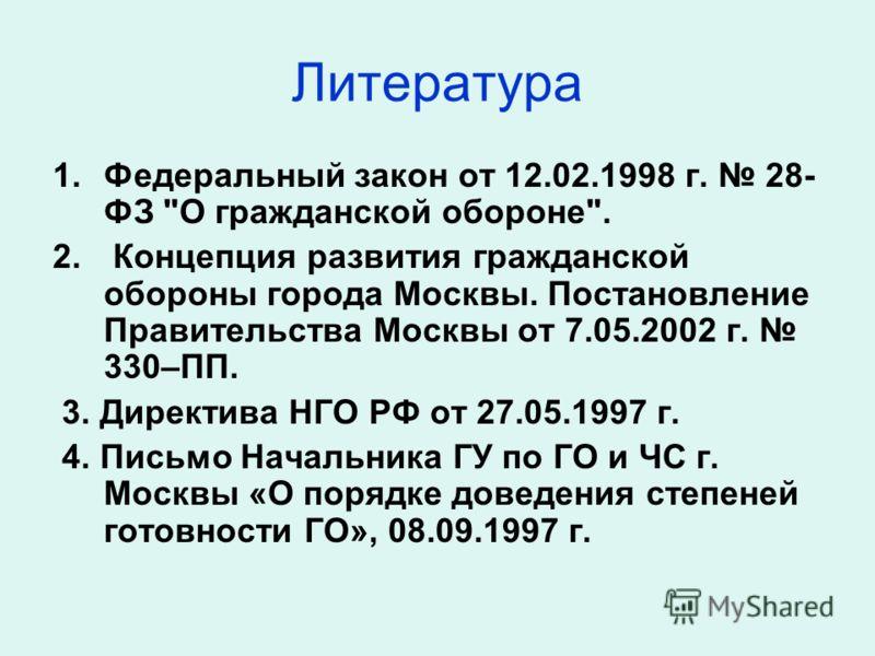 Литература 1.Федеральный закон от 12.02.1998 г. 28- ФЗ
