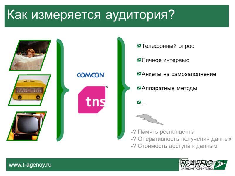 www.t-agency.ru Как измеряется аудитория? Телефонный опрос Личное интервью Анкеты на самозаполнение Аппаратные методы … -? Память респондента -? Оперативность получения данных -? Стоимость доступа к данным