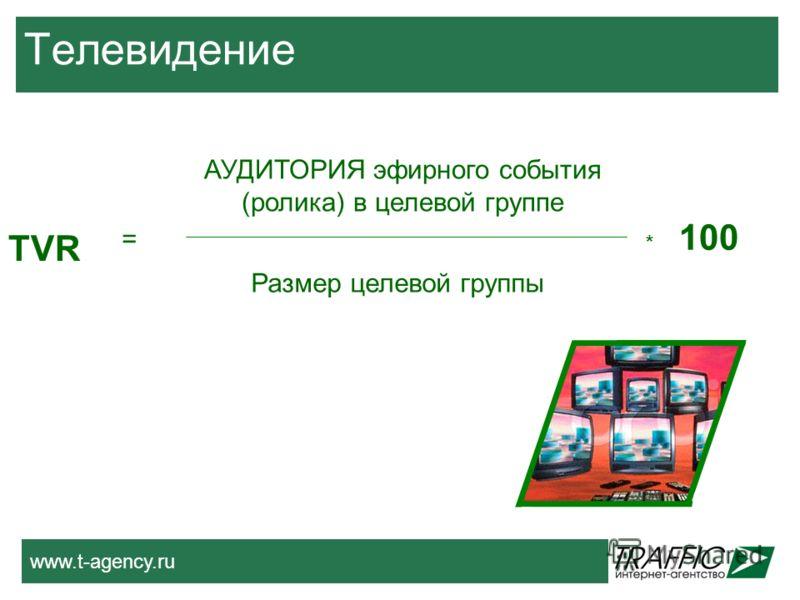 www.t-agency.ru Телевидение АУДИТОРИЯ эфирного события (ролика) в целевой группе Размер целевой группы TVR = 100 *