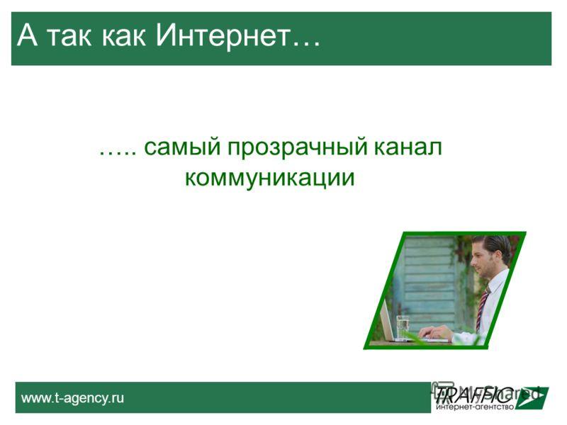 www.t-agency.ru А так как Интернет… ….. самый прозрачный канал коммуникации