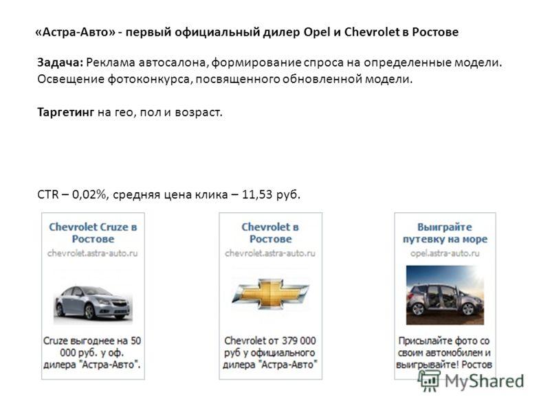 «Астра-Авто» - первый официальный дилер Opel и Chevrolet в Ростове Задача: Реклама автосалона, формирование спроса на определенные модели. Освещение фотоконкурса, посвященного обновленной модели. Таргетинг на гео, пол и возраст. CTR – 0,02%, средняя