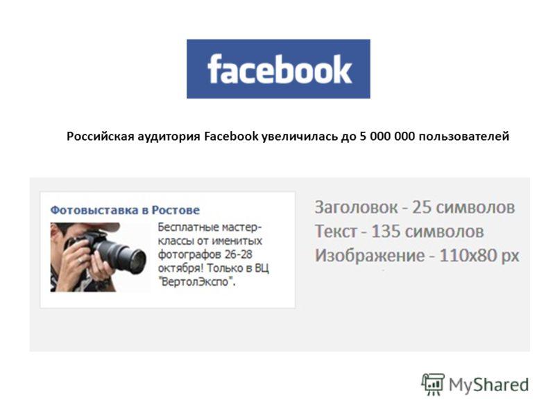Российская аудитория Facebook увеличилась до 5 000 000 пользователей