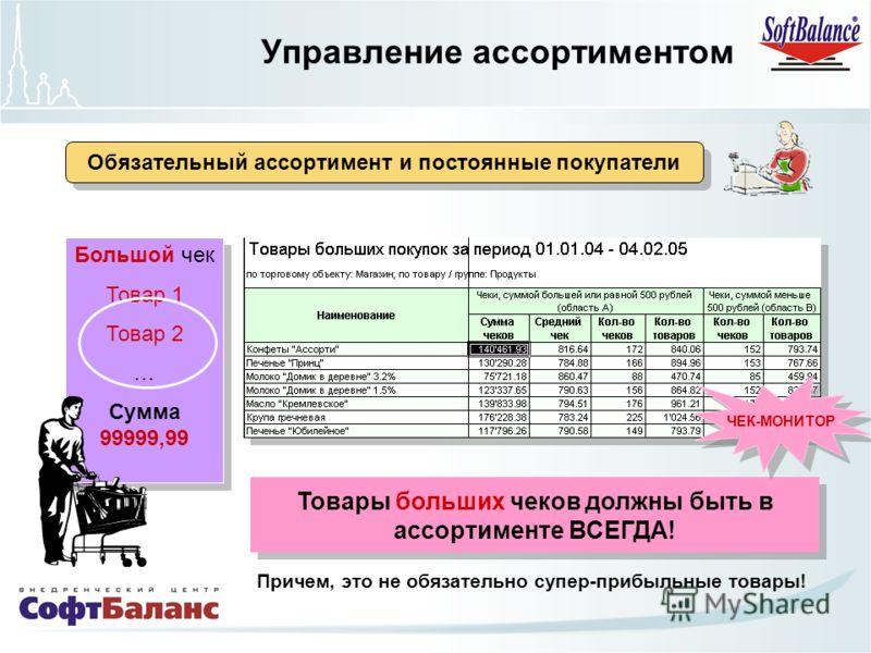 Большой чек Товар 1 Товар 2 … Сумма 99999,99 Большой чек Товар 1 Товар 2 … Сумма 99999,99 Товары больших чеков должны быть в ассортименте ВСЕГДА! ЧЕК-МОНИТОР Причем, это не обязательно супер-прибыльные товары! Обязательный ассортимент и постоянные по