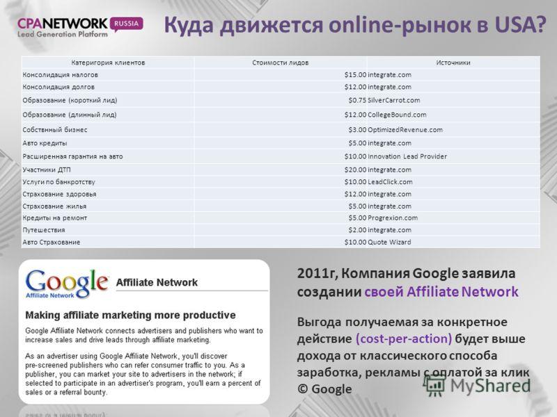 Куда движется online-рынок в USA? 2011г, Компания Google заявила создании своей Affiliate Network Выгода получаемая за конкретное действие (cost-per-action) будет выше дохода от классического способа заработка, рекламы с оплатой за клик © Google Кате