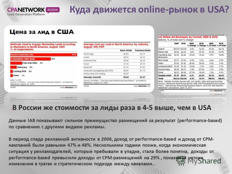 Куда движется online-рынок в USA? В России же стоимости за лиды раза в 4-5 выше, чем в USA Данные IAB показывают сильное преимущество размещений за результат (performance-based) по сравнению с другими видами рекламы. В период спада рекламной активнос