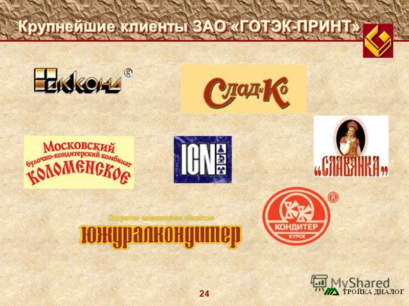 24 Крупнейшие клиенты ЗАО «ГОТЭК-ПРИНТ»
