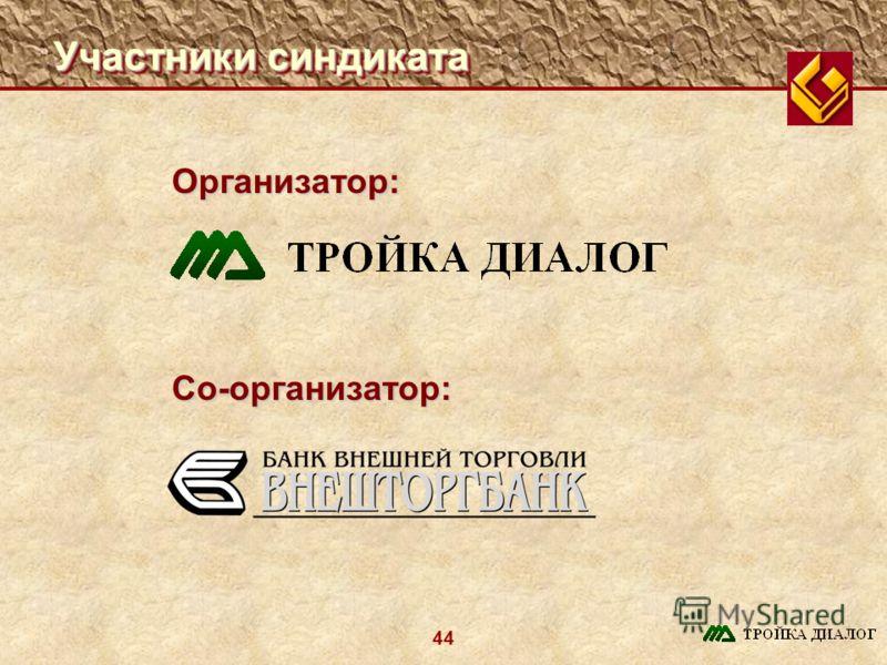 44 Участники синдиката Организатор: Со-организатор:
