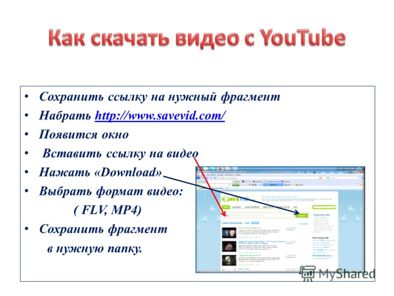 Сохранить ссылку на нужный фрагмент Набрать http://www.savevid.com/http://www.savevid.com/ Появится окно Вставить ссылку на видео Нажать «Download» Выбрать формат видео: ( FLV, MP4) Сохранить фрагмент в нужную папку.