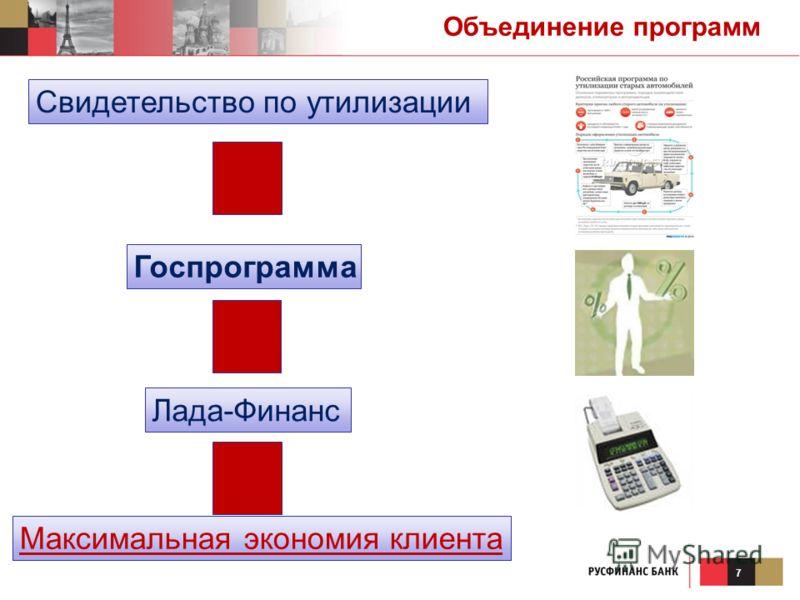 7 Максимальная экономия клиента Свидетельство по утилизации Лада-Финанс Госпрограмма Объединение программ