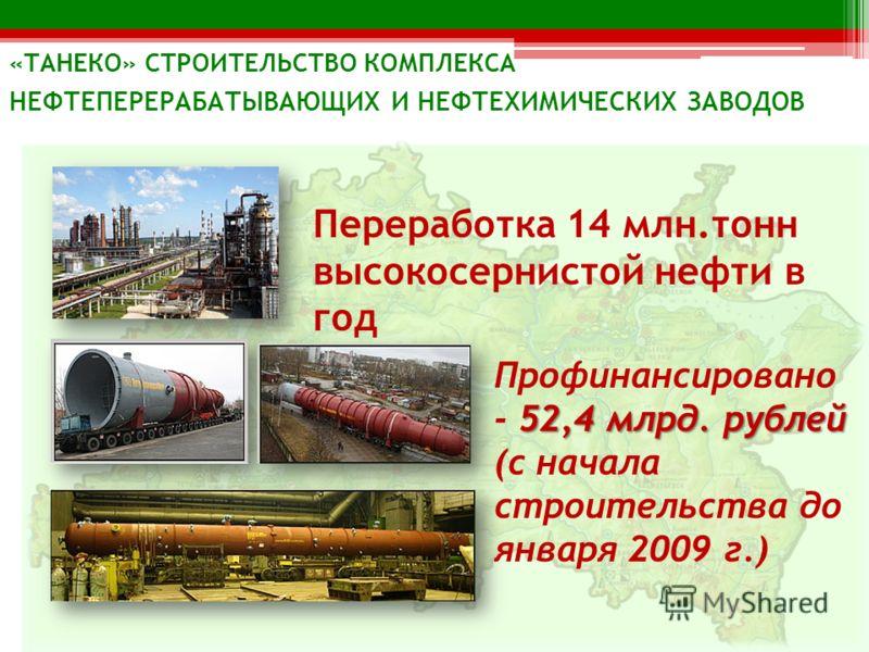 Переработка 14 млн.тонн высокосернистой нефти в год 52,4 млрд. рублей Профинансировано - 52,4 млрд. рублей (с начала строительства до января 2009 г.) «ТАНЕКО» СТРОИТЕЛЬСТВО КОМПЛЕКСА НЕФТЕПЕРЕРАБАТЫВАЮЩИХ И НЕФТЕХИМИЧЕСКИХ ЗАВОДОВ
