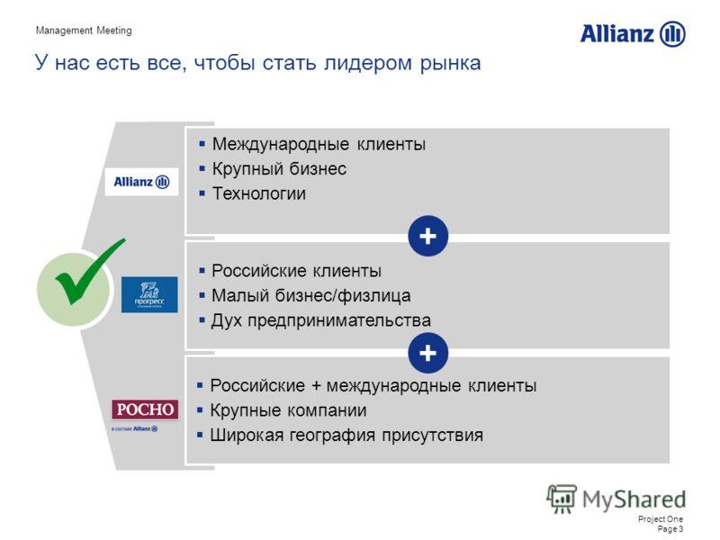 Project One Page 3 Российские клиенты Малый бизнес/физлица Дух предпринимательства Российские + международные клиенты Крупные компании Широкая география присутствия У нас есть все, чтобы стать лидером рынка Международные клиенты Крупный бизнес Технол